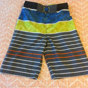 Boys Striped Swim Trunks Size L